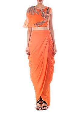 Orange Draped Skirt Set
