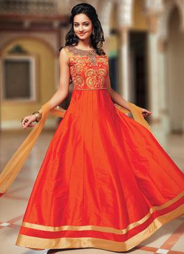 Orange Dupion Silk Anarkali Suit