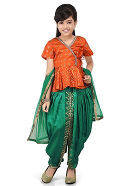 Orange Dupion Silk Kids Salwar Kameez