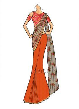 Orange Embellished Saree
