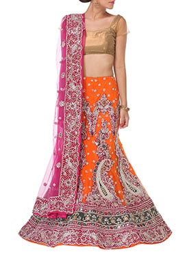 Orange Embellished Stones A Line Lehenga Choli