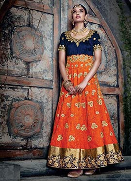 Orange Embroidered Anarklai Suit
