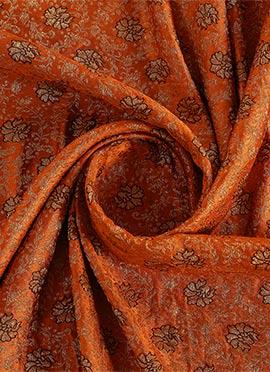 Orange Embroidered Art Silk Fabric