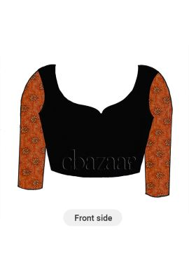 Orange Embroidered Art Silk Long Sleeve Blouse