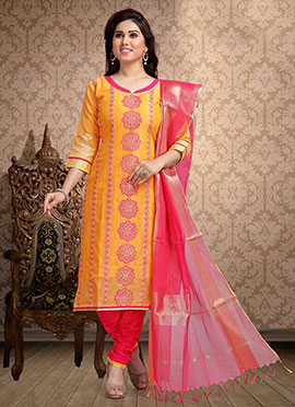 Orange Embroidered Churidar Suit