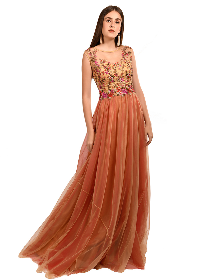 657baa0471668 Buy Orange Embroidered Gown, Embroidered, dresses and gown ...