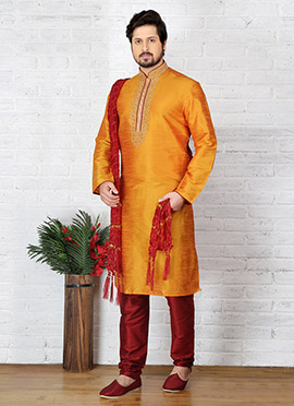 Orange Embroidered Kurta Pyjama