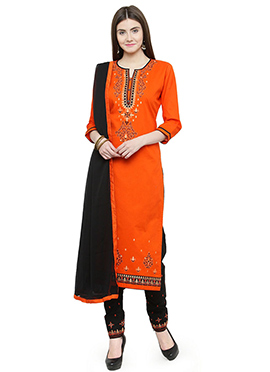 Orange Embroidered Straight Pant Suit