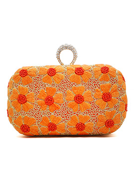 Orange Embroidered Stylish Clutch