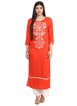 Orange Embroidered Viscose Long Kurti