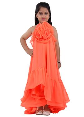 Orange Faux Georgette Kids Dress