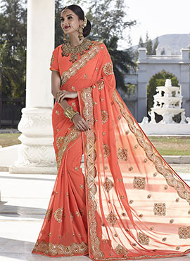Orange Faux Georgette Saree
