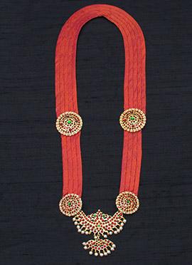 Orange Flawless Polki N Pearls Studded Necklace