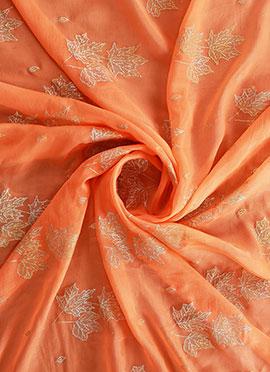 Orange Foil Printed Paper Silk Fabric