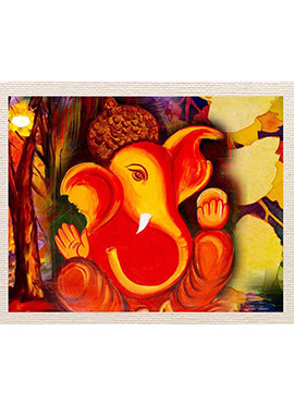 Orange Ganesha Canvas