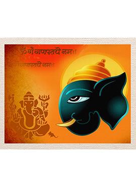 Orange Ganesha Imprint Canvas