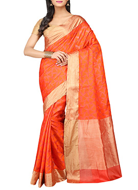 Orange Geometric Designed Pure Silk Saree