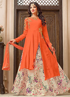 Orange Georgette A Line Lehenga