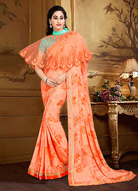 Orange Georgette Capes Style Saree