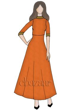 Orange Georgette Closed Collar Full Length Kurti