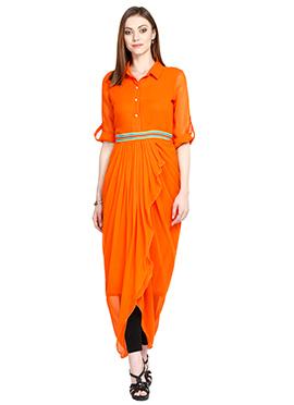 Orange Georgette Cowl Style Tunic