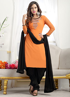 Orange Georgette Dhoti Style Suit