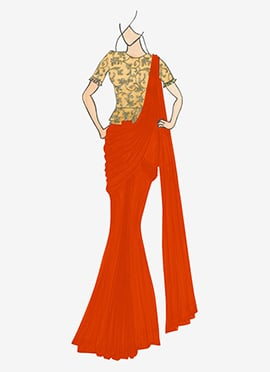 Orange Georgette Drape Saree with Gold Embroidered Blouse