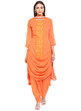Orange Georgette Drape Style Semi Patiala Suit