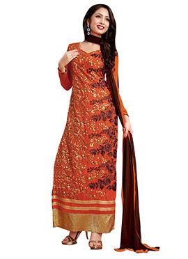 Orange Georgette Embroidered Straight Suit