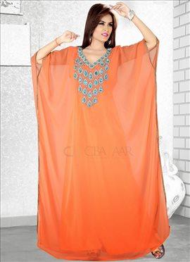 Orange Georgette Farasha Fustan