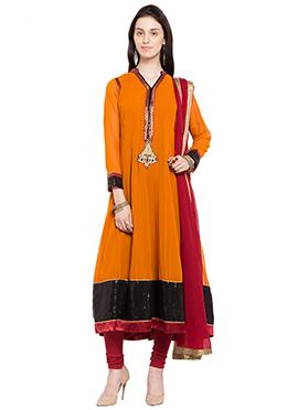 Orange Georgette Kalidar Suit