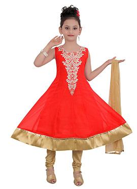 Orange Georgette Kids Anarkali Suit