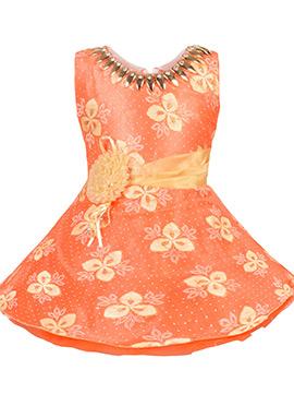 Orange Georgette Kids Dress
