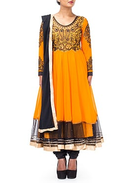 Orange Georgette Layered Anarkali Suit