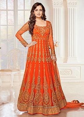 Orange Georgette N Art net Anarkali Suit