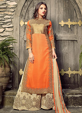 Orange Georgette Palazzo Suit