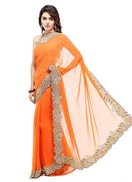 Orange Georgette Saree