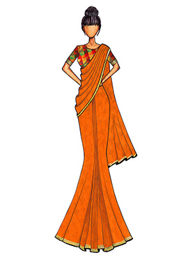 Orange Georgette Saree with a Multicolored Chanderi Silk Blouse