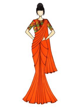 Orange Georgette Saree with Black Velvet Blouse