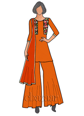 Orange Georgette Sharara Suit