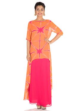 Orange Georgette Skirt Set