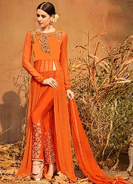 Orange Georgette Straight Pant Suit