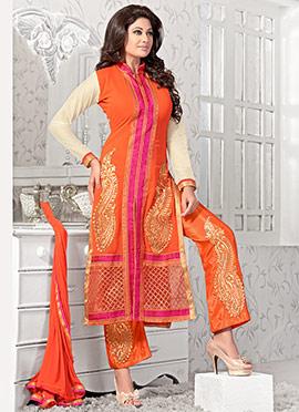 Orange Georgette Straight Suit