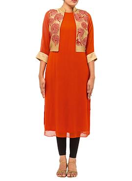 Orange Georgette Tikki Work Jacket Kurti