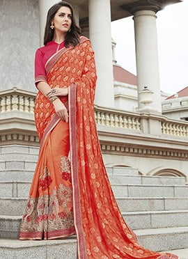 Orange Half N Half Saree