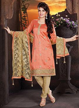 Orange Handloom Art Silk Churidar Suit