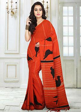 Orange Handloom Saree