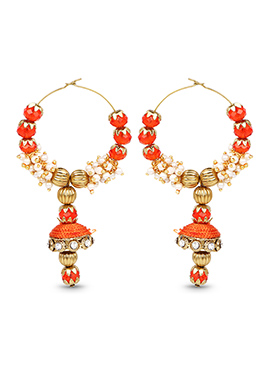 Orange Hoops Silk Thread Earrings