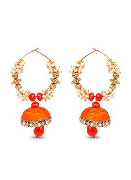 Orange Hoops Silk Thread Earrings