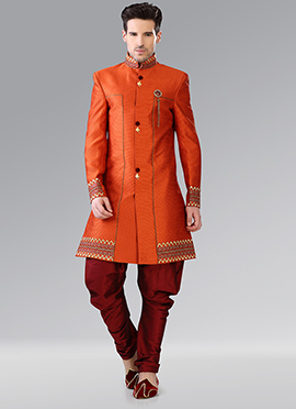 Orange Indowestern Patiala Style Sherwani